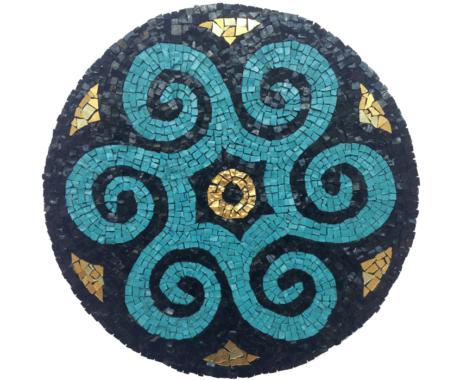 Blue swirls mandala